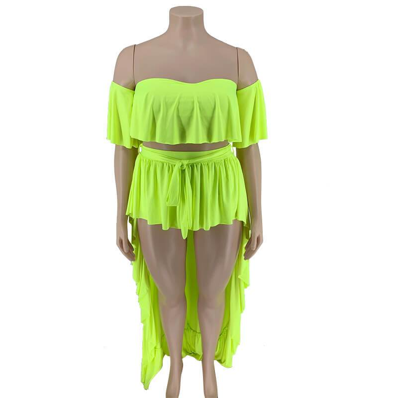 plus size 2 piece skirt and crop top set - green color