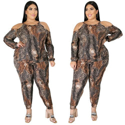 Plus Size Snake Print Off The Shoulder - main picture