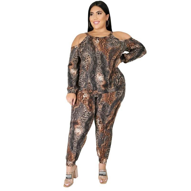Plus Size Snake Print Off The Shoulder - printing color