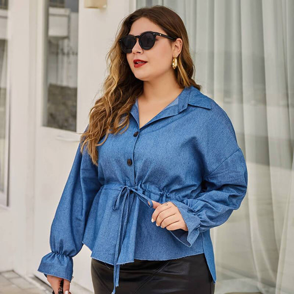 Plus Size Solid-colored Shirt.