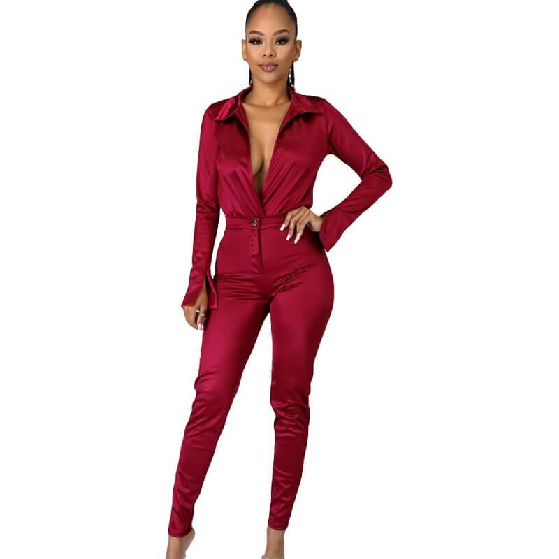Solid Color Glossy Suit