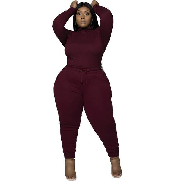 Plus Size Solid Color Long Sleeve Casual Suit