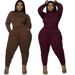 Plus Size Solid Color Casual Suit - main picture
