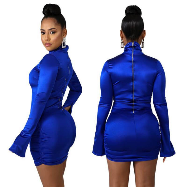 Sexy Zipper Dress- Blue color