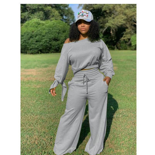 vPlus Size Round Neck Two-piece - gray color