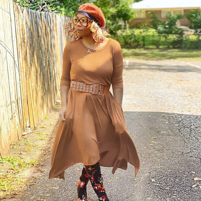 Plus Size Solid Color Swing Dress