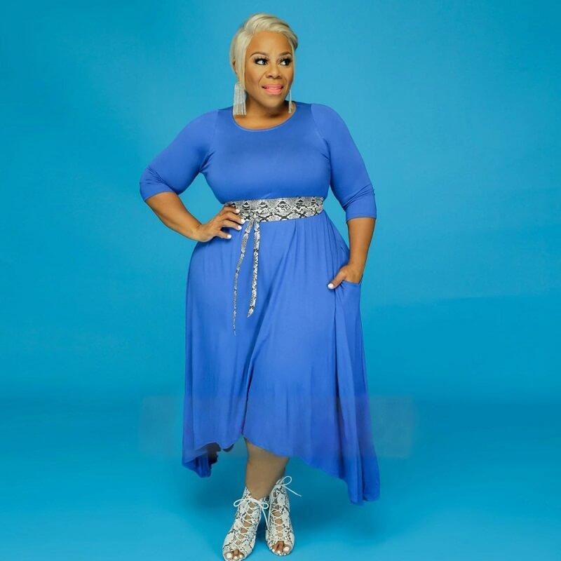 Sun Dresses Plus Size - blue color