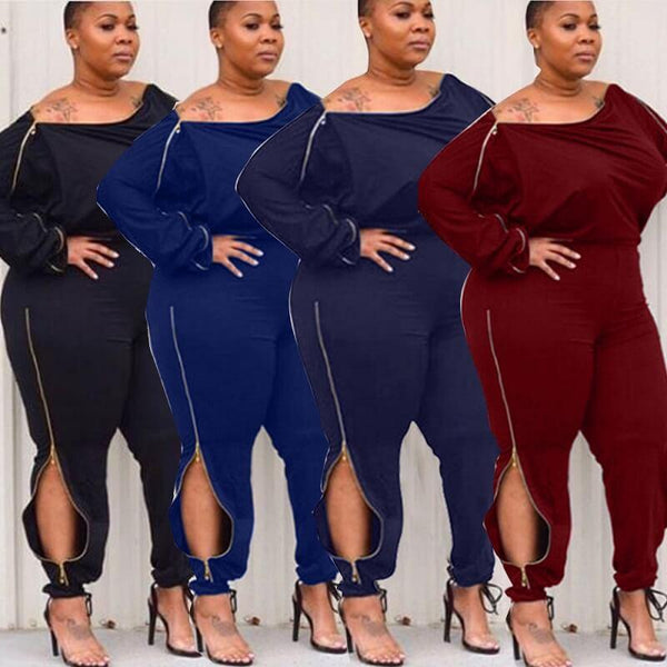 Plus Size Solid Zipper Jumpsuits.