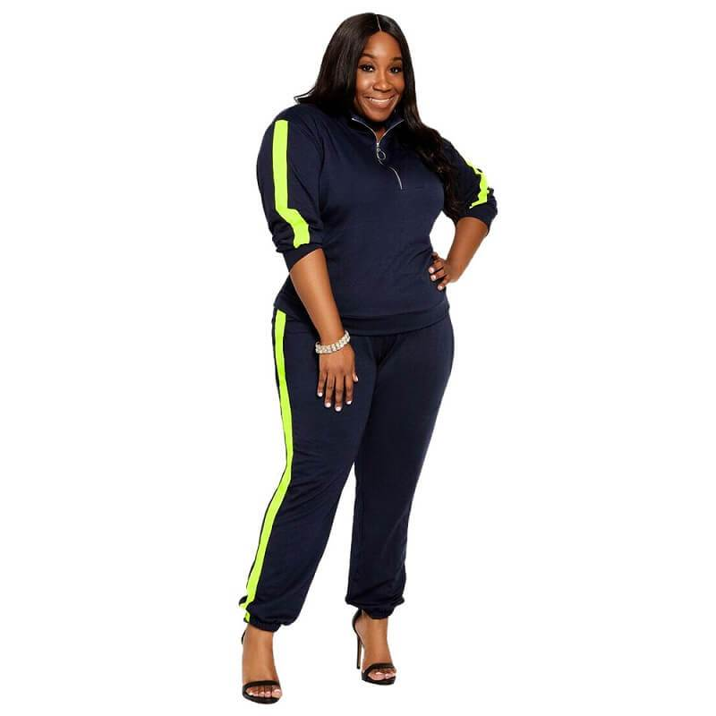 Plus Size Stitched Zipper Sports Kit - main picture