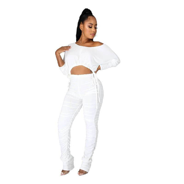 Plus Size White Two Piece Set - white color