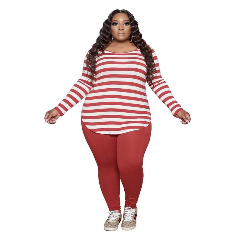 Plus Size Striped Casual Suit