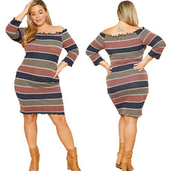 Striped Plus Off Shoulder Dress