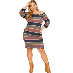 plus size vintage dresses cheap - striped positive