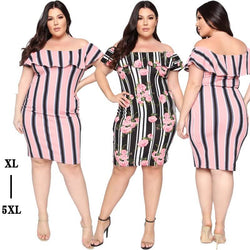 Striped Shoulder Plus Size Dress
