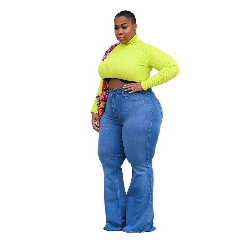 Plus Size  Stylish Slimmed Wide-legged built-in Flared Jeans.
