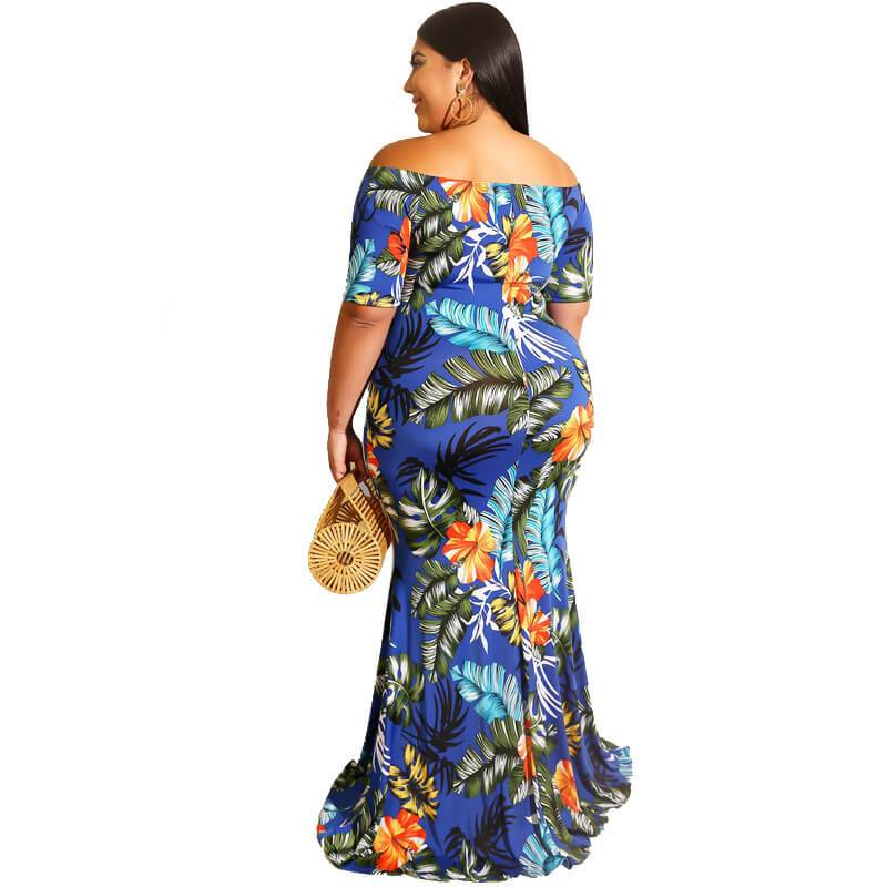 Short Sleeve Plus Size Mexican Dress - blue back