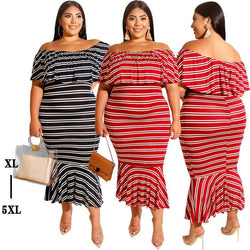 Plus Size The New Lotus-leaf Striped Dress.