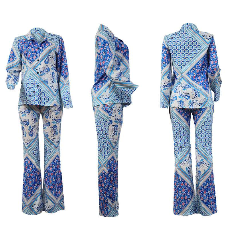 Tidal Blue Printed Shirt Two-piece Set.