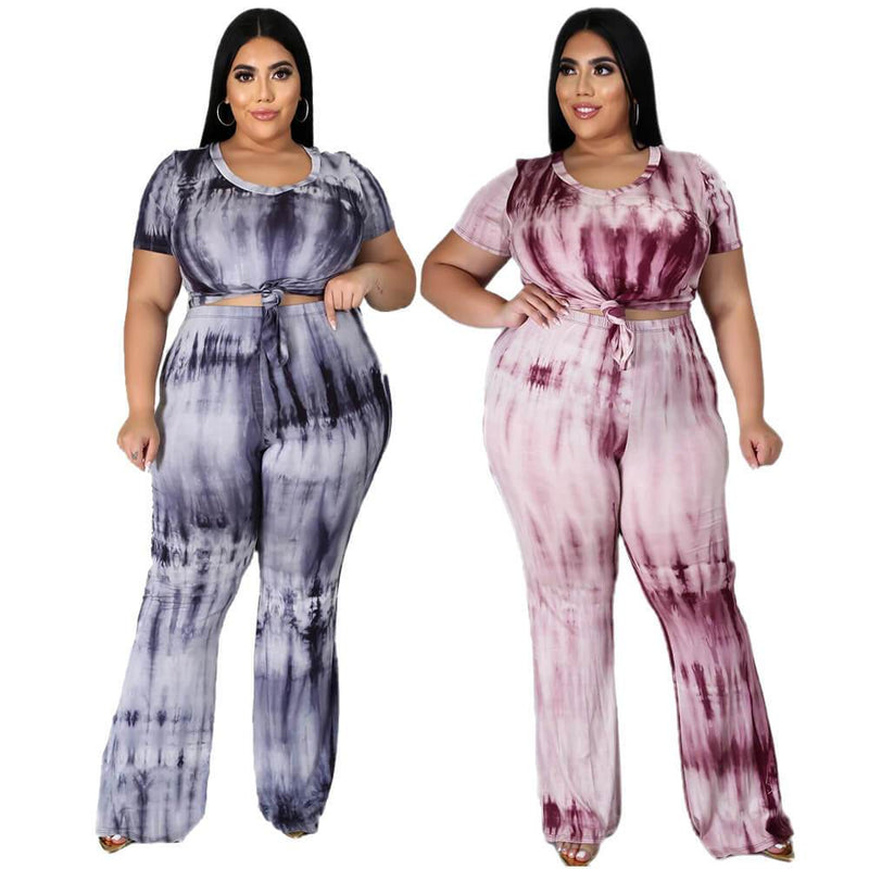 Plus Size Tie-dyed sleeved Casual Sets - main picture