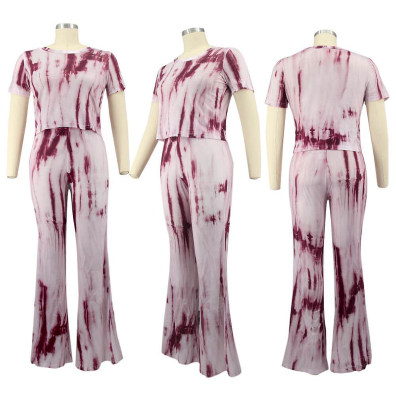 Plus Size Tie-dyed sleeved Casual Sets - pink model picture