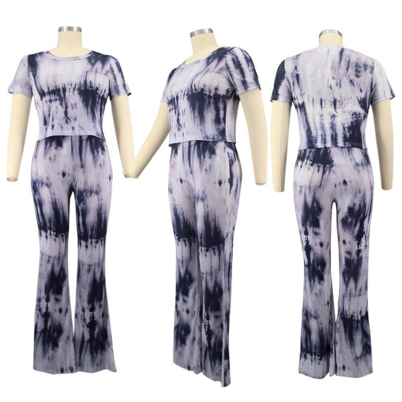 Plus Size Tie-dyed sleeved Casual Sets - black model picture