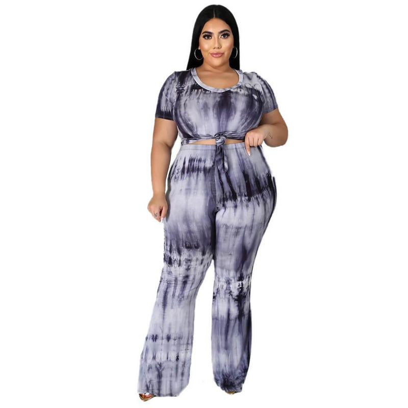 Plus Size Tie-dyed sleeved Casual Sets - black color
