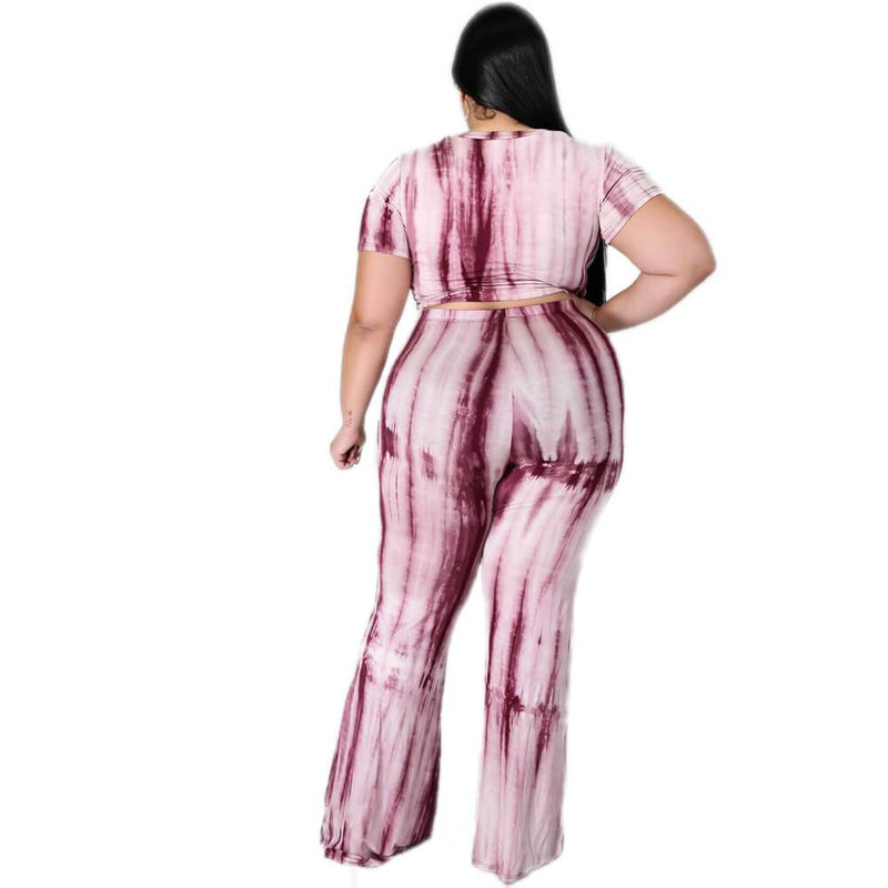 Plus Size Tie-dyed sleeved Casual Sets - pink back