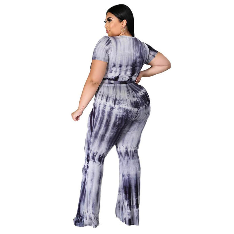 Plus Size Tie-dyed sleeved Casual Sets - black left