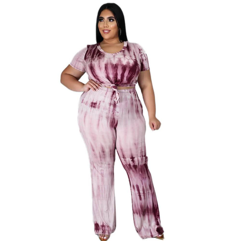 Plus Size Tie-dyed sleeved Casual Sets - red color