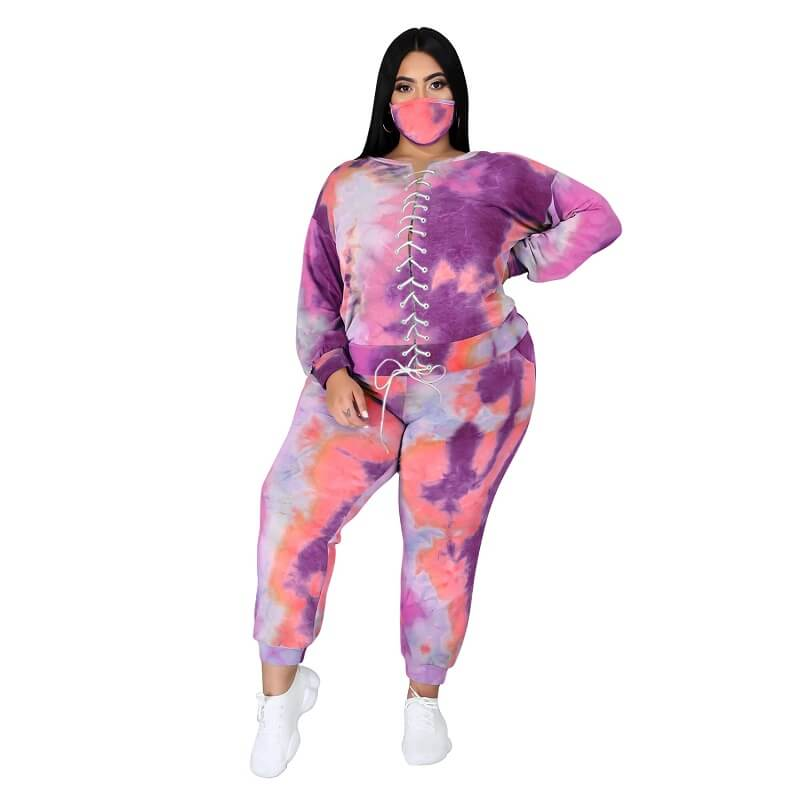 Plus Size Tie Dye Suit - 3th