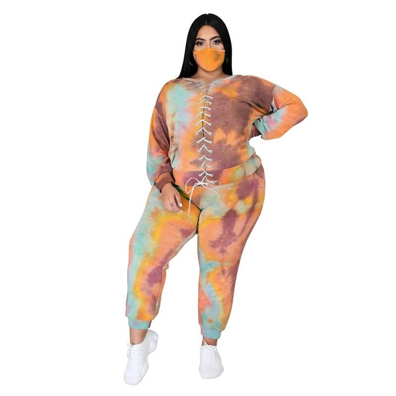 Plus Size Tie Dye Suit - 1th