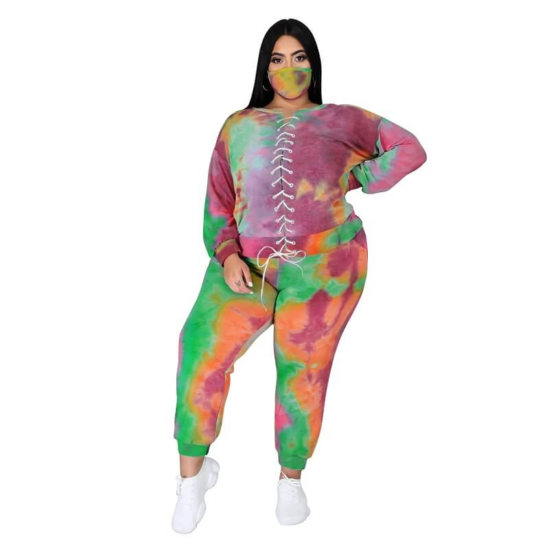 Plus Size Tie Dye Suit - 8th