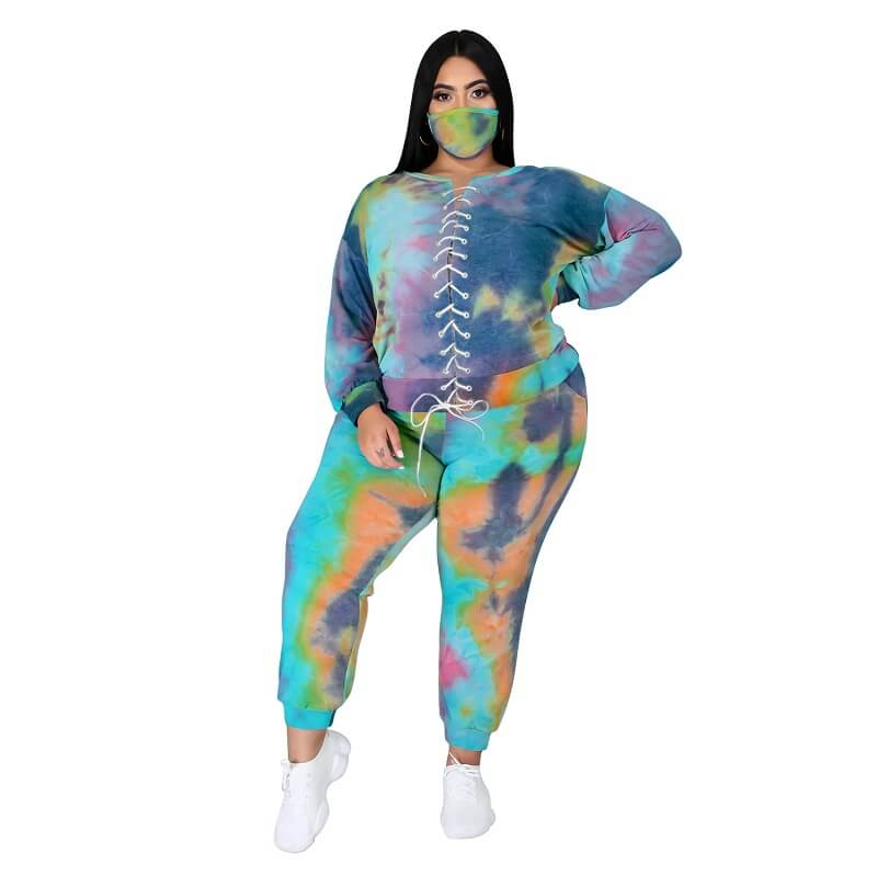 Plus Size Tie Dye Suit - 2th