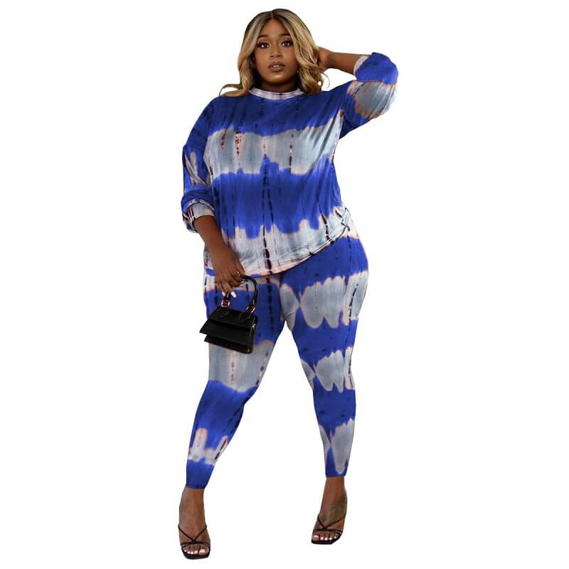 Plus Size Two Piece Lounge Set - treasure blue color