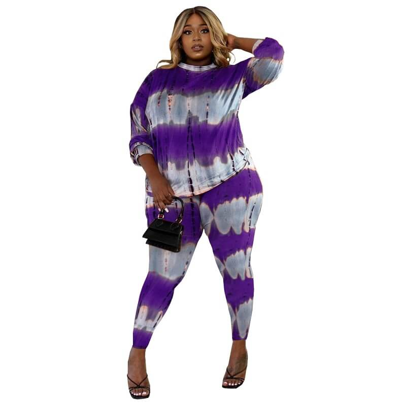 Plus Size Two Piece Lounge Set - purple color