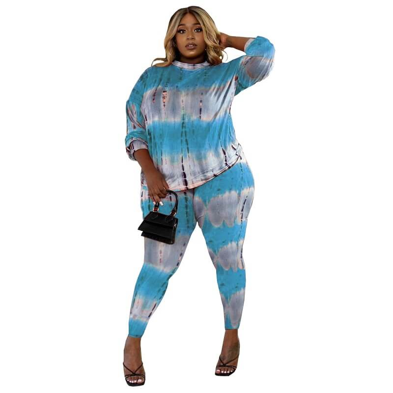 Plus Size Two Piece Lounge Set - light blue color