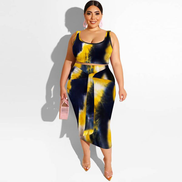 Plus Size Tie Dye Printing Two Piece Set