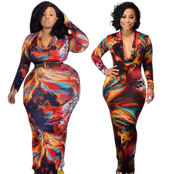 Plus Size Tight Low Sexy Printed Dress