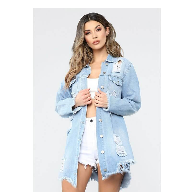 Plus Size Denim Trench Coat - light blue positive