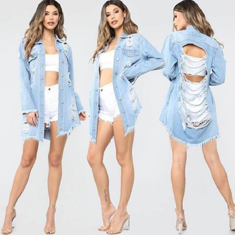 Plus Size Denim Trench Coat - light blue whole body