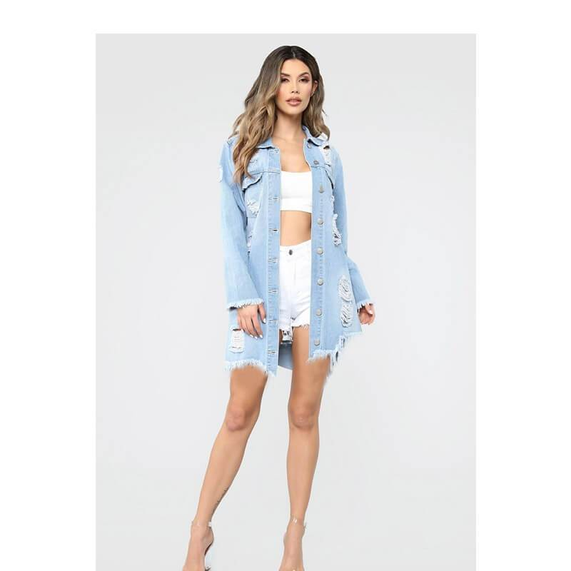 Plus Size Denim Trench Coat - light blue color
