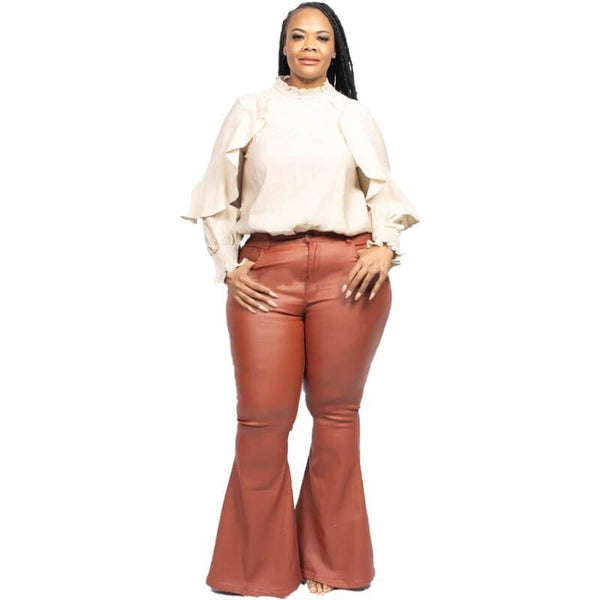Plus Size Trumpet Leather Pants