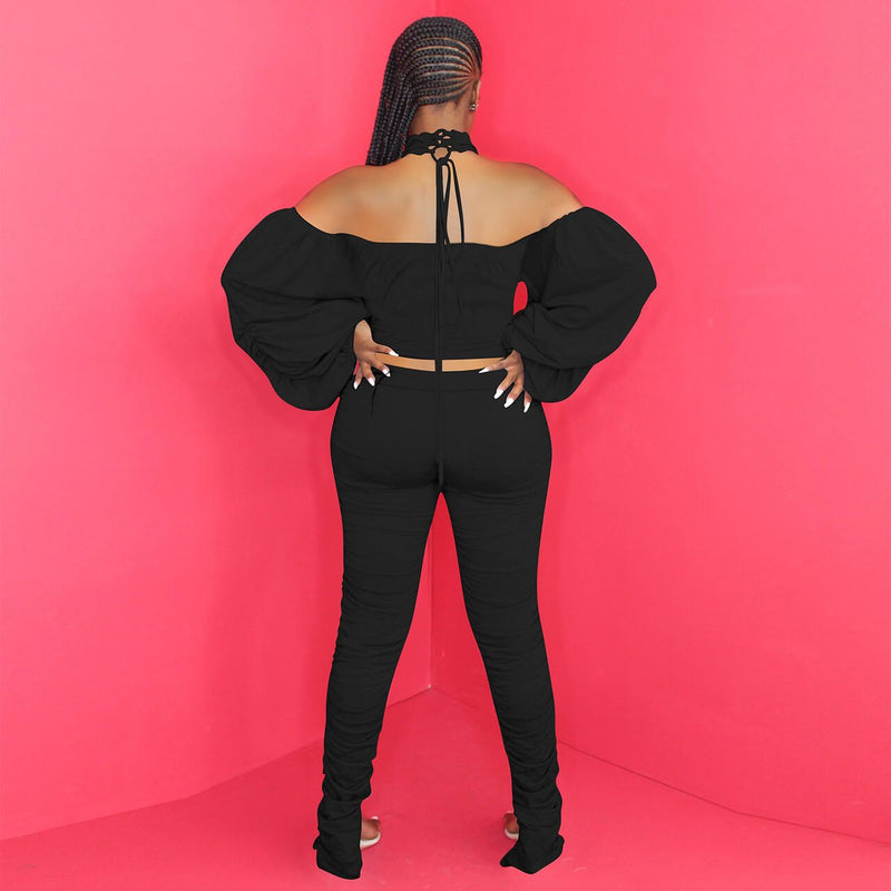 Plus Size Two Piece Off The Shoulder Sport