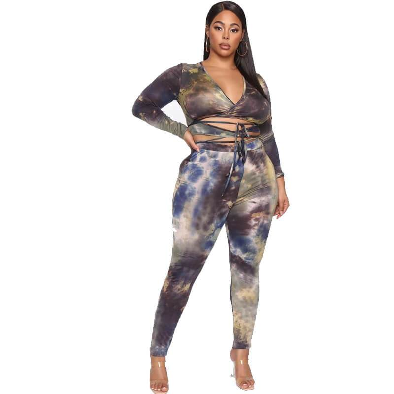Plus Size Two Sets of Printed Straps - printed color whole body