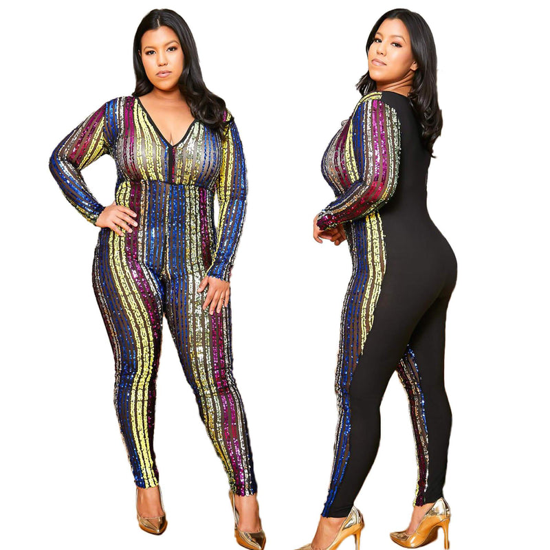 Plus Size V-neck Jumpsuit
