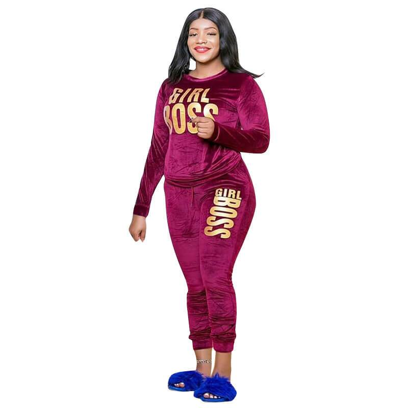 2 Piece Outfit Sets Plus Size - red positive
