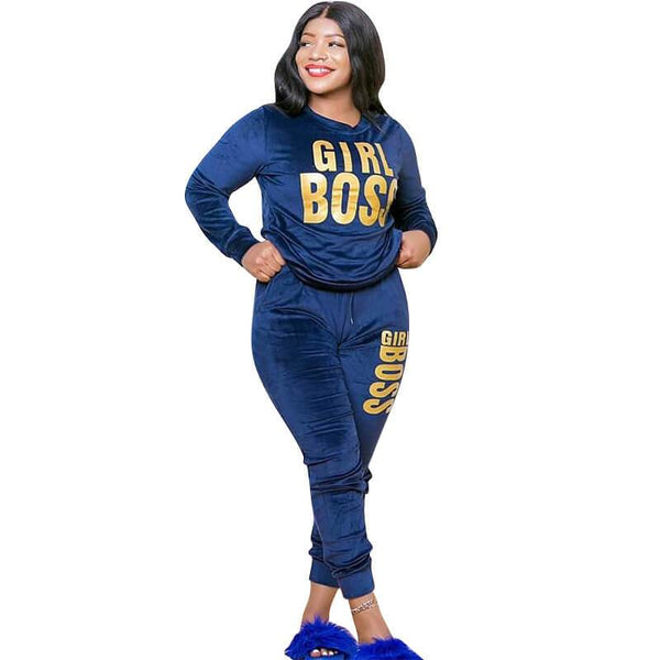 Plus Size Velvet Letter Printing Fashion Two Piece Suit