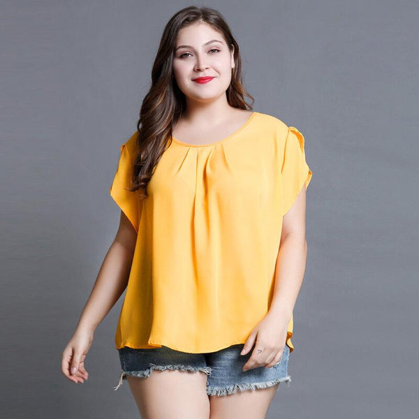 Chiffon Blouse Plus Size - yellow main picture