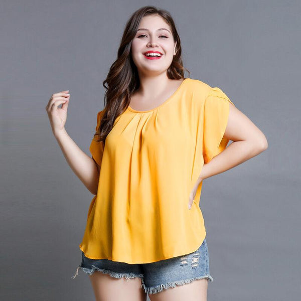 Chiffon Blouse Plus Size - yellow color