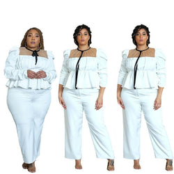 White Two Piece Set Plus Size - white main picture